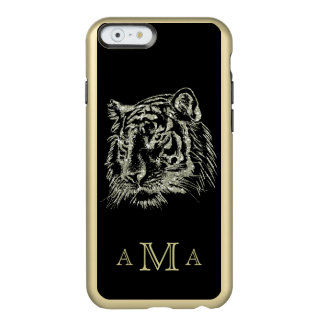 Black Gold Tiger Monogram Incipio Feather® Shine iPhone 6 Case