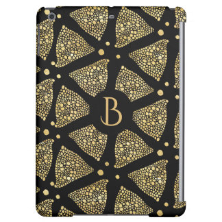 Black & Gold Triangles Modern Pattern iPad Air Cover