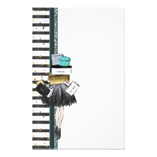 Black Gold Turquoise Shopper with Stack of Gifts Stationery