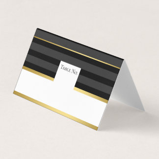 Black Gold Tuxedo Stripe Guest Table Number Card