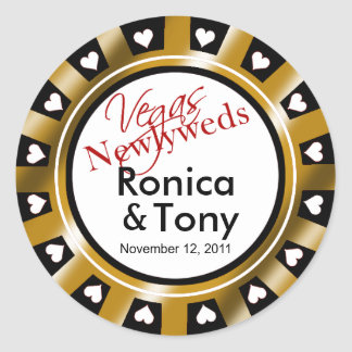 Black & Gold Vegas Newlyweds Casino Chip Classic Round Sticker
