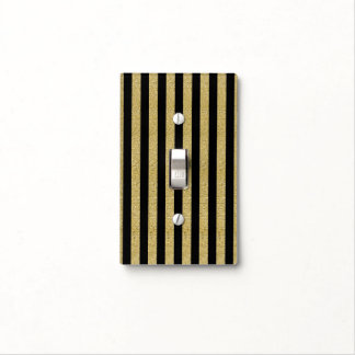 Black & Gold Vertical Stripes Glam Sparkle Chic Light Switch Cover