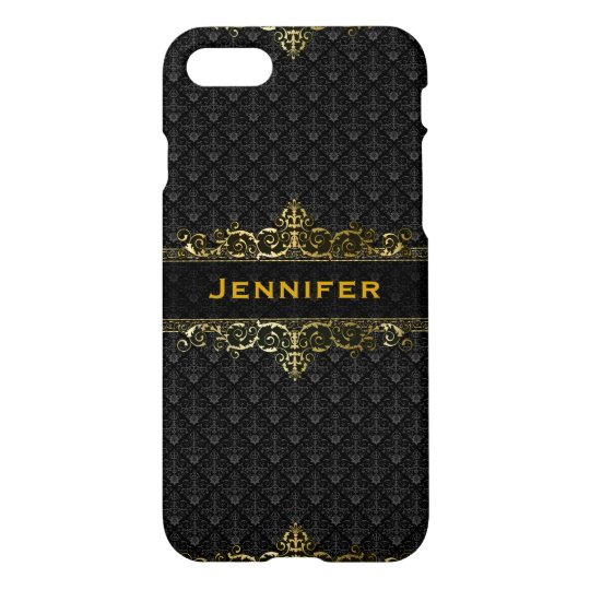 Black & Gold Vintage Damasks Ornate Frame iPhone 7 Case