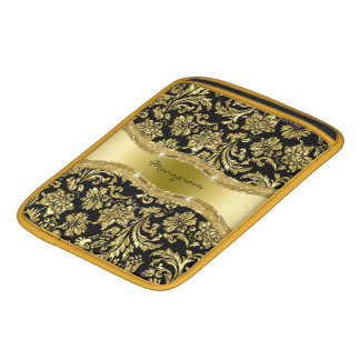 Black & Gold Vintage Floral Damasks 3 iPad Sleeve