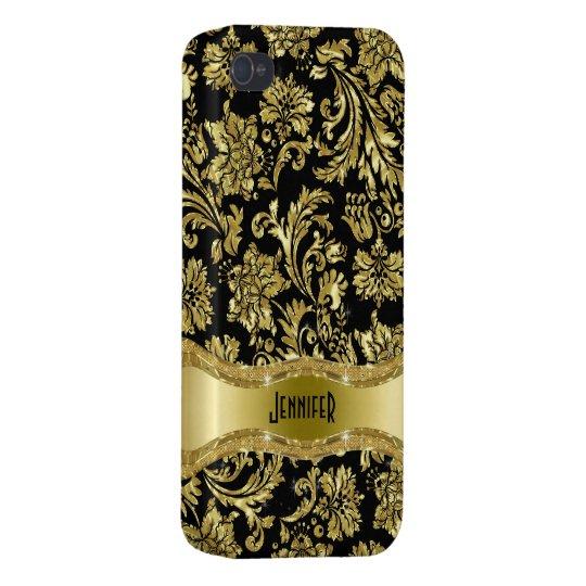 Black & Gold Vintage Floral Damasks Cover For iPhone 4