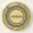 Black & Gold Vintage Floral Damasks-Monogram Coaster