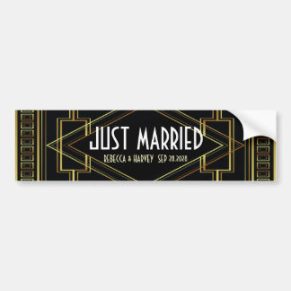 black gold vintage great gatsby just married bumper sticker