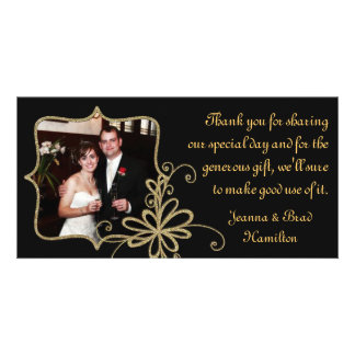 Black & Gold Wedding Photo Thank You Card