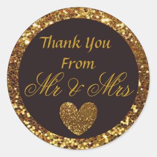 "Black & Gold Wedding Thank you Sticker ""Mr & Mrs"""