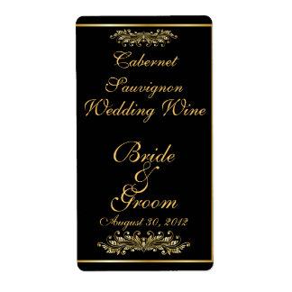 Black & Gold  Wedding Wine Label Shipping Label
