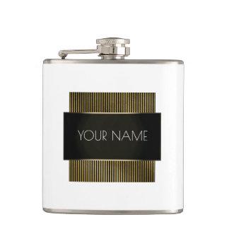 Black Gold White Conceptual Minimal Elegant Lux Hip Flask
