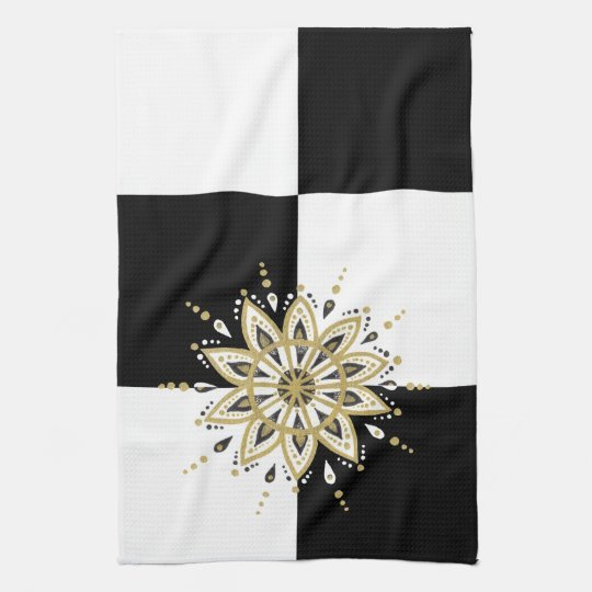 Black gold & white mandala geometric design 2a kitchen towel