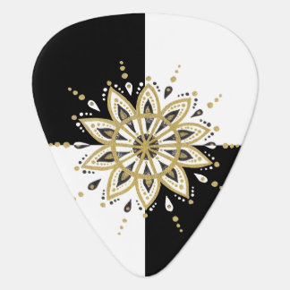 Black gold & white mandala geometric design guitar pick