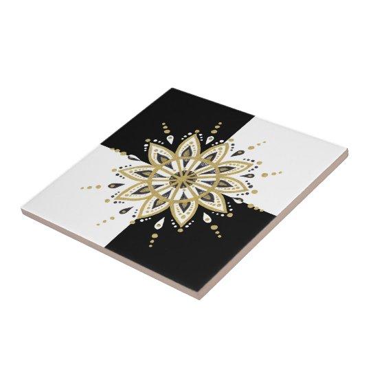 Black gold & white mandala geometric design tile