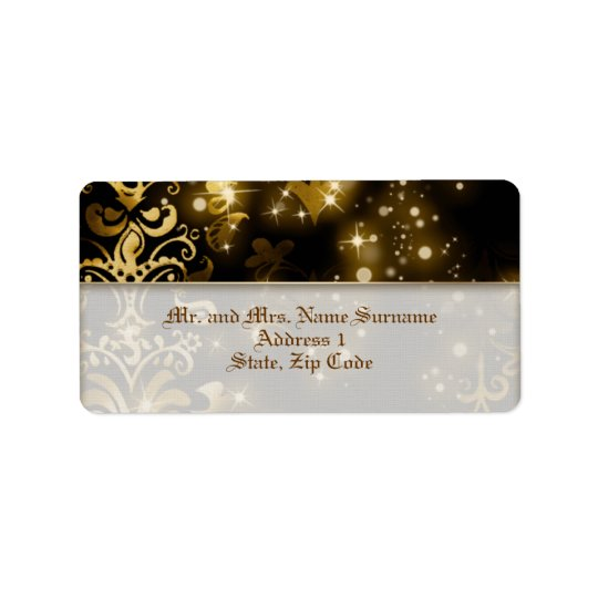 Black gold winter wedding party label