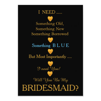 "Black & Gold with Heart Will You Be my Bridesmaid 5"" X 7"" Invitation Card"