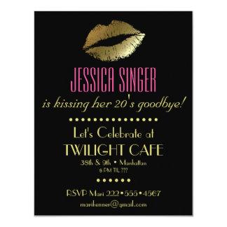 "Black & Gold with Lips Contemporary Modern Elegant 4.25"" X 5.5"" Invitation Card"