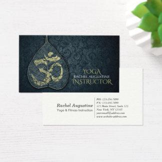 Black & Gold Yoga Instructor Bodhi Leaf OM Symbol Business Card