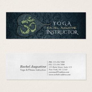 Black & Gold Yoga Instructor Bodhi Leaf OM Symbol Mini Business Card