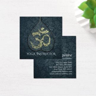 Black & Gold Yoga Instructor Bodhi Leaf OM Symbol Square Business Card