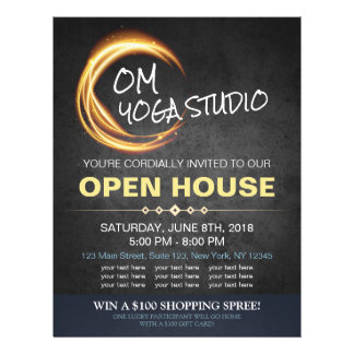 Black Gold YOGA Massage Therapy Studio Open House Personalized Flyer