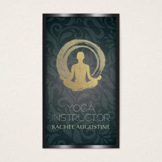 Black Gold Yoga Meditation ZEN Symbol Linen Damask Business Card
