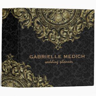 Black & Golde Floral Vintage Ornament Binder
