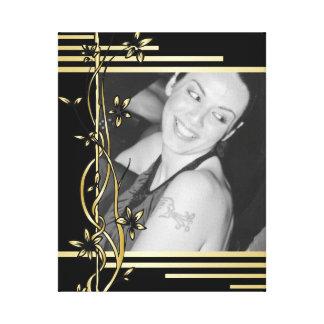 Black golden floral border portrait wrapped canvas
