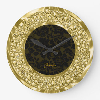 Black & Golden Sparkling Diamonds Glitter-Monogram Large Clock
