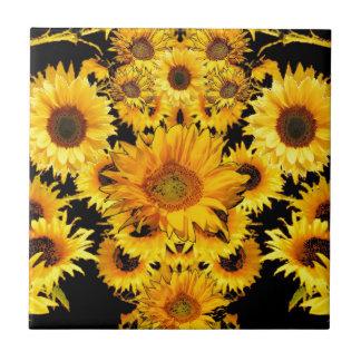 Black-golden Sunflowers Pattern gifts Ceramic Tile