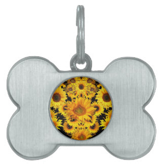 Black-golden Sunflowers Pattern gifts Pet ID Tag