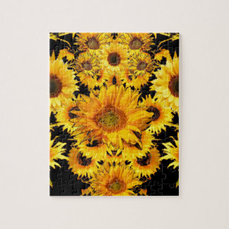 Black-golden Sunflowers Pattern gifts Puzzle