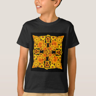 Black-Golden Sunflowers Patterned GIFTS T-Shirt