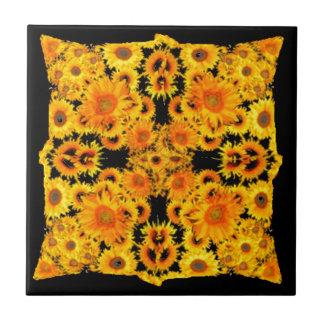 Black-Golden Sunflowers Patterned GIFTS Tiles