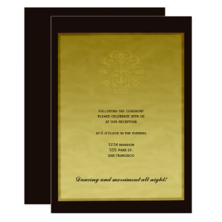 Black goldr elegant luxury wedding reception card