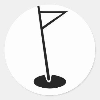 Black Golf Hole Flag Classic Round Sticker