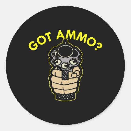 Black Got Ammo Pistol Round Stickers