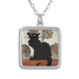 Black Gothic Cat Silver Plated Necklace