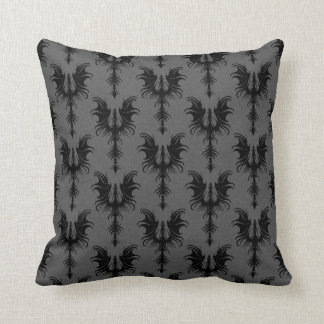 Black Gothic Dragons on Grey Pattern Throw Pillow