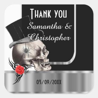 Black gothic skull wedding thank you square sticker