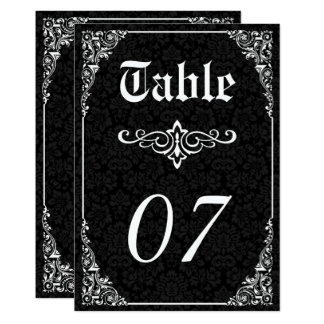 Black Gothic Victorian Damask Wedding Table Number