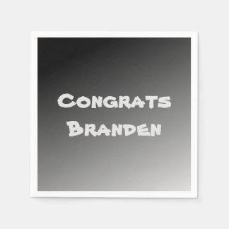 Black Gradient Congrats Paper Napkin