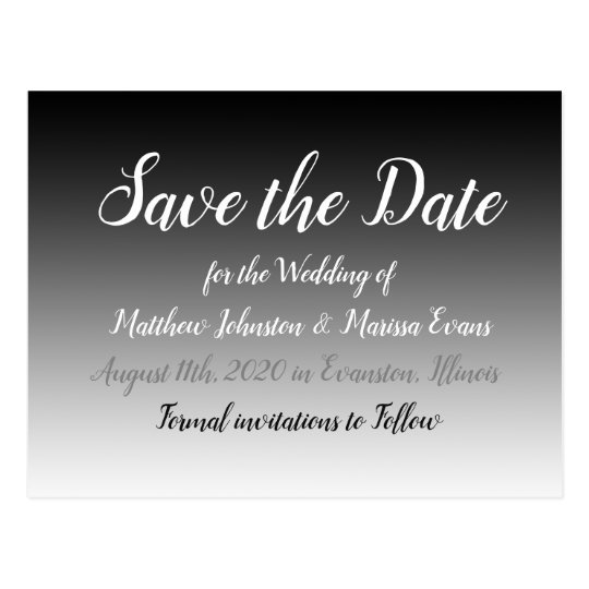 Black Gradient Personalized Save the Date Postcard