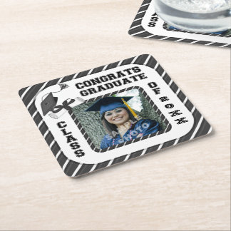 Black Graduation Graduate School Party Coasters