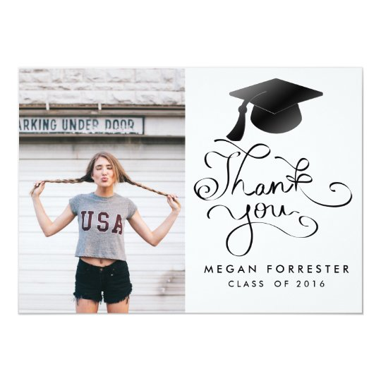 Black Graduation Hat Handwritten Thank You Photo Card