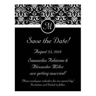 Black Grand Insignia Monogram Save the Date Postcard