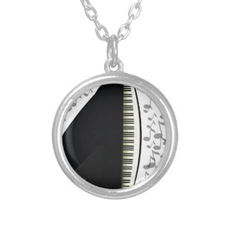 black grand piano silver plated necklace