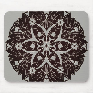 Black Graphic Flowers Circle - Mouse Pad