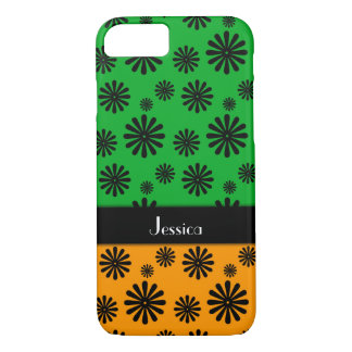 Black Graphic Flowers, Green & Orange Personalized Case-Mate iPhone Case