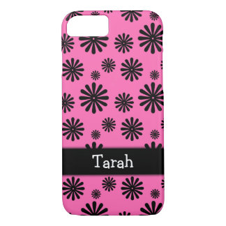 Black Graphic Flowers on Hot Pink, Personalized iPhone 8/7 Case